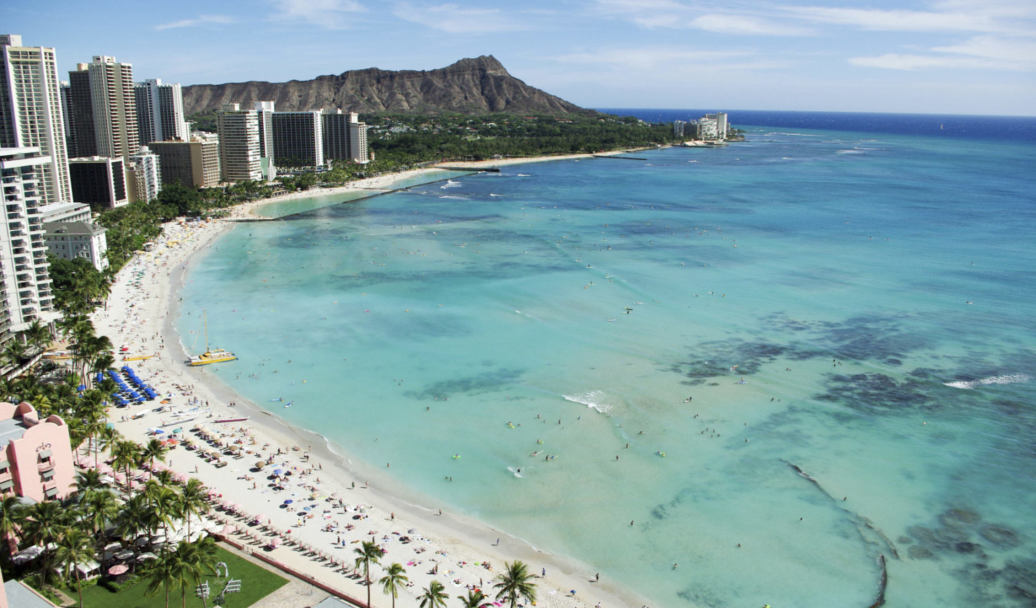 Waikiki Beach and Diamond Head, Honolulu, Oahu Island, Hawaii, October 2012