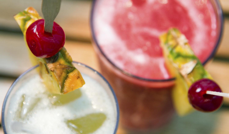 Pina Colada and Strawberry Daiquiri on a table on a cruise ship