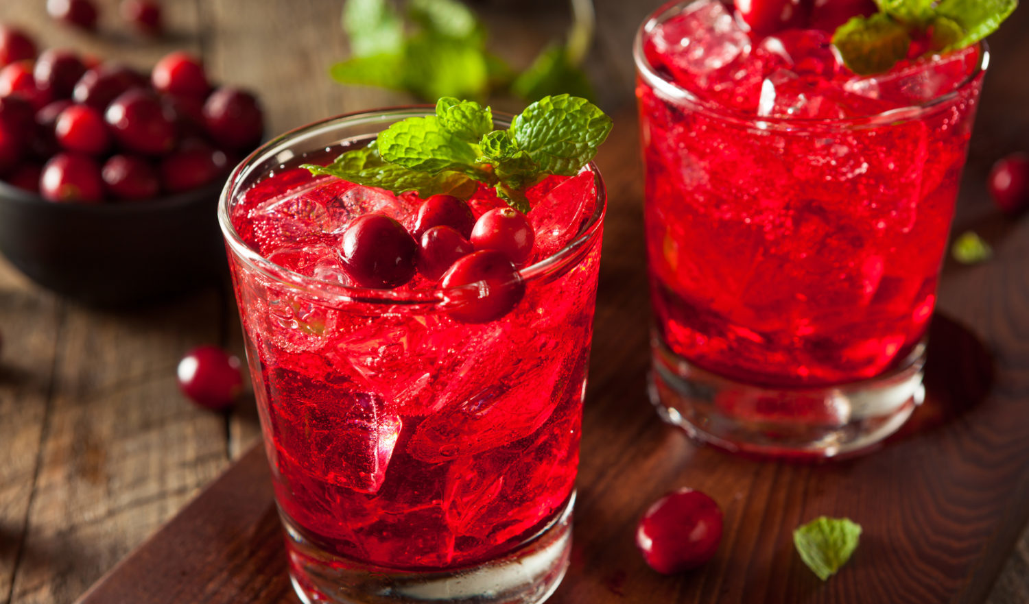 Homemade Boozy Cranberry Cocktail with Vodka and Mint