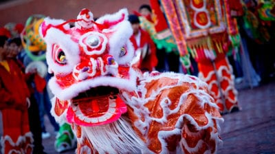 Dragon dancing at Chinese New Year
