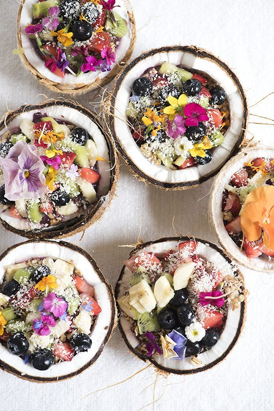 Super Bowl photo 2 fruit and flower coconut bowls