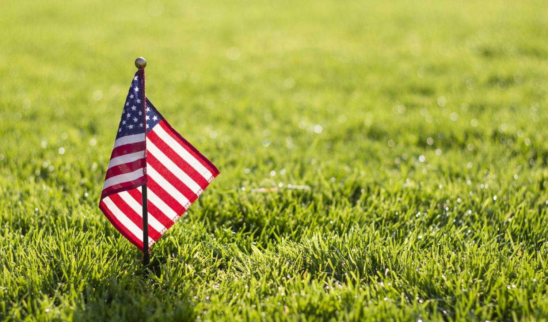 American flag on grass- closeup