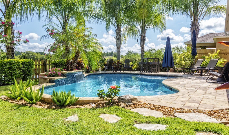 A beautiful backyard swimming pool in Florida.