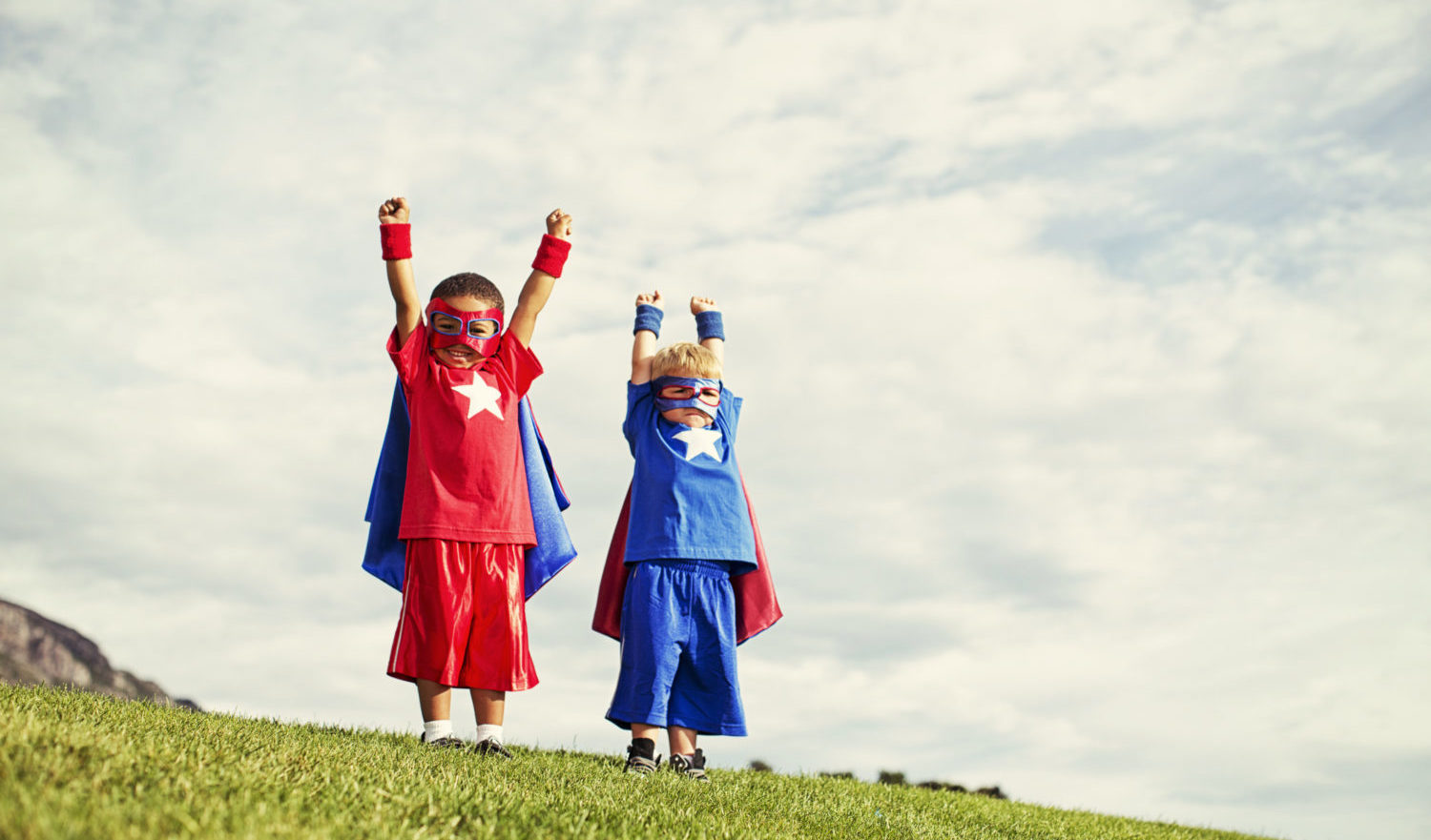 Two superheroes are ready to save the world. It is never too early to be super.