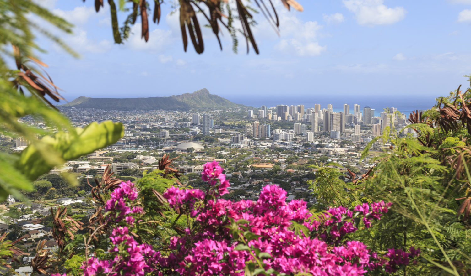 A view of Diamond Head and the Waikiki skyline from above.
