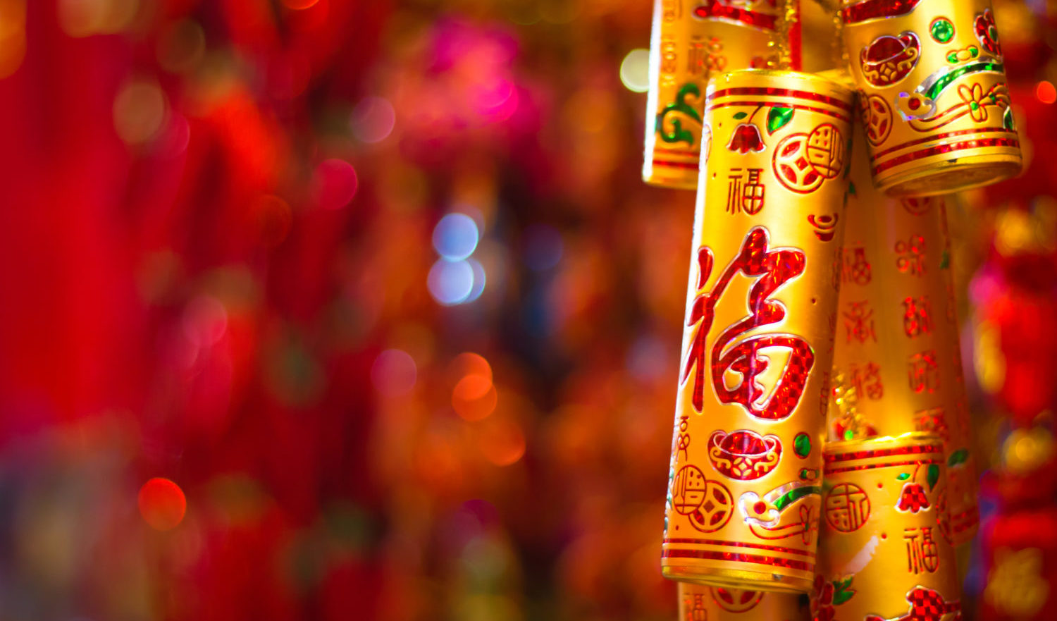 Colorful Firecracker with Traditional Chinese script and patterns
