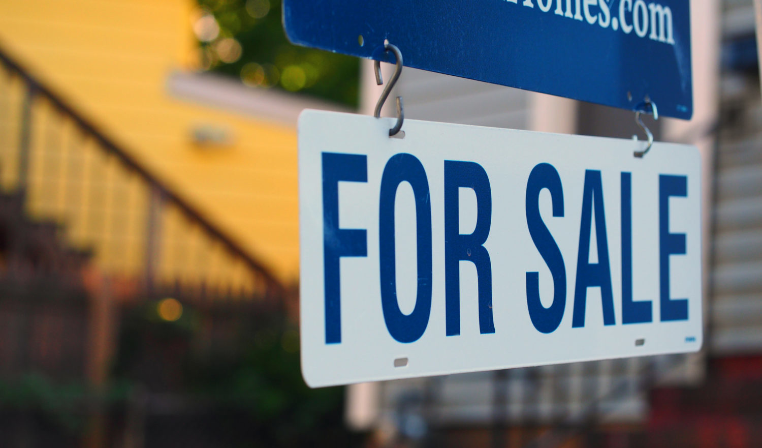 Real estate for sale, existing home for sale, signage.