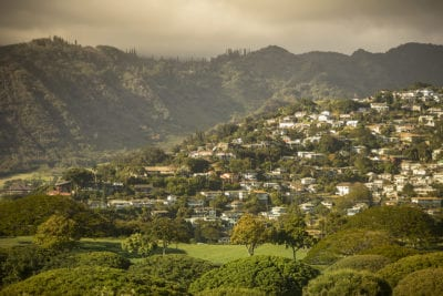 Suburban houses on the mountain side in Honolulu Hawaii USA